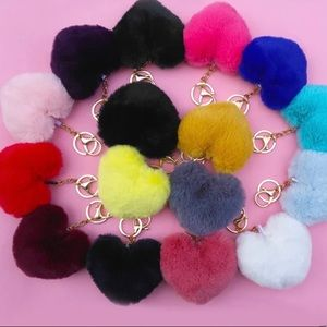 Soft Solid Colored Heart Keychain/Attachable Hook